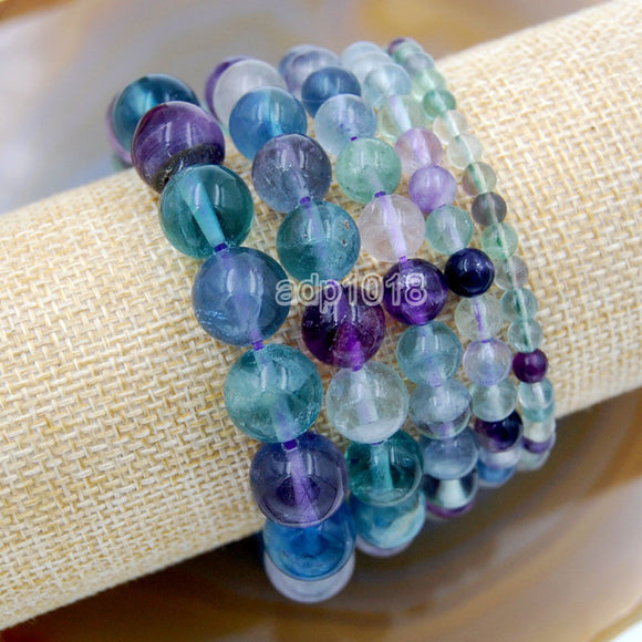 Natural Fluorite Gemstone Beads Stretch Bracelet Healing Reiki