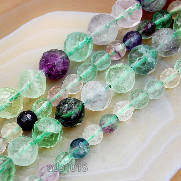Faceted Natural Fluorite Gemstone Round Loose Beads on a 15.5