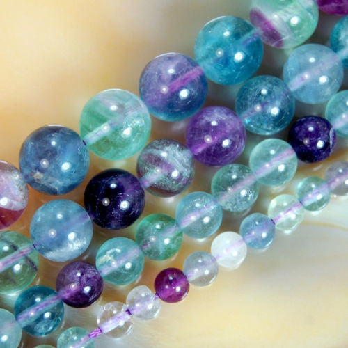 Natural Colorful Fluorite Gemstone Round Loose Beads on a 15.5