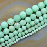 "Matte Natural Jade Gemstone Round Loose Beads on a 15.5"" Strand"