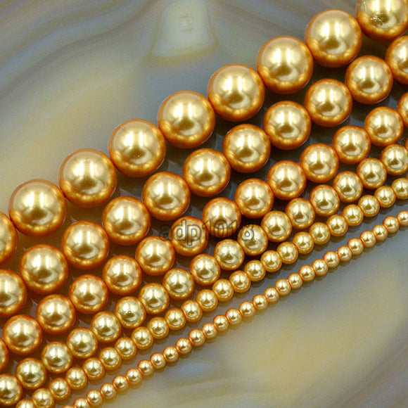 Czech Gold Satin Luster Glass Pearl Round Beads on a 15.5