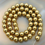 "Natural Smooth Hematite Round Gemstone Loose Beads on a 15.5"" Strand"