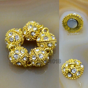 Magnetic Round Rhinestone Clasp Connector Metal Finding Jewelry Making 5 Sets