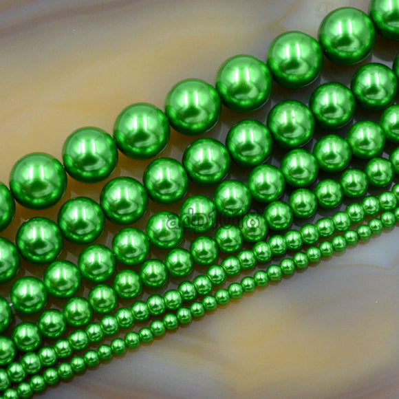 Czech Green Satin Luster Glass Pearl Round Beads on a 15.5