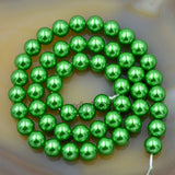 "Czech Green Satin Luster Glass Pearl Round Beads on a 15.5"" Strand"