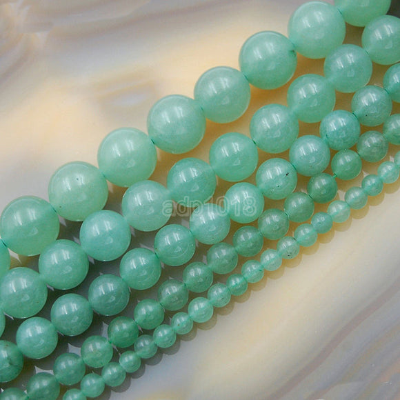 Natural Green Aventurine Round Loose Beads on a 15.5