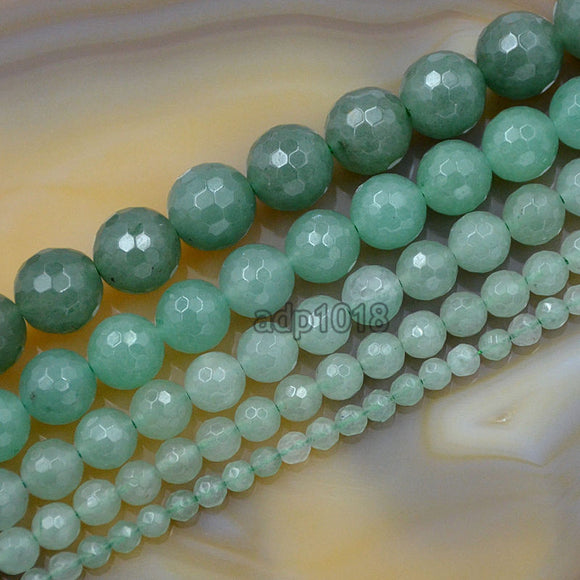 Faceted Natural Green Aventurine Gemstone Round Loose Beads on a 15.5