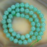 "Natural Green Aventurine Round Loose Beads on a 15.5"" Strand"