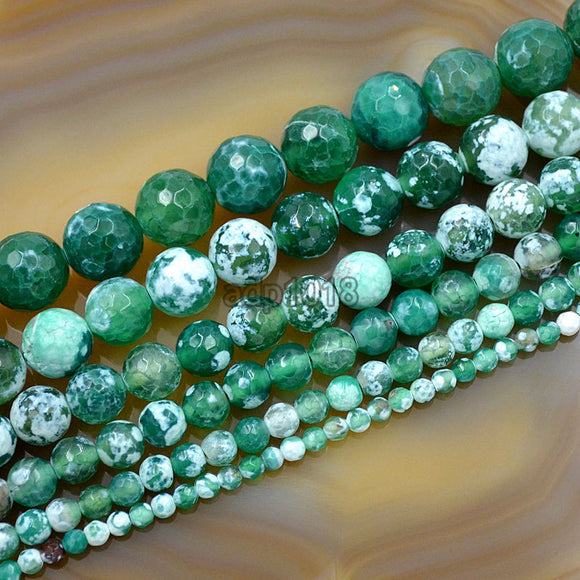 Faceted Natural Green Fire Agate Gemstone Round Loose Beads on a 15.5
