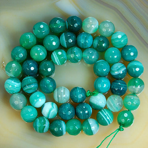Faceted Natural Green Striated Agate Gemstone Round Loose Beads on a 15.5