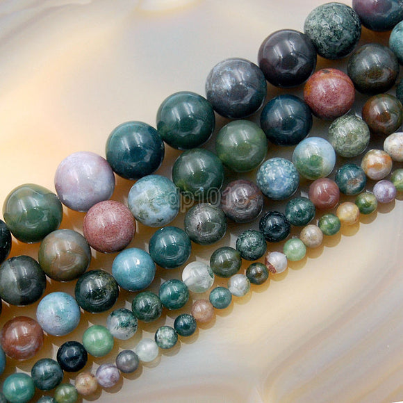 Natural Indian Agate Round Loose Beads on a 15.5