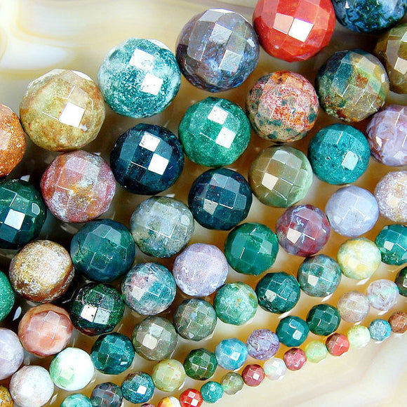 Faceted Natural Indian Agate Gemstone Round Loose Beads on a 15.5
