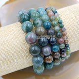 Natural Indian Agate Gemstone Beads Stretch Bracelet Healing Reiki
