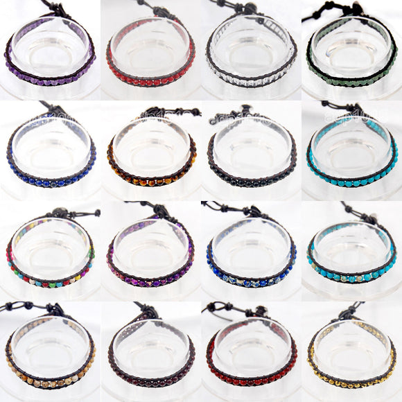 Colorful Hand Made Mixed Crystal and Gemstones Beads Single Wrap Leather Bracelet