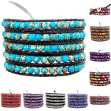 Colorful Hand Made Mixed Crystal and Gemstones Beads 5 Wrap Leather Bracelet
