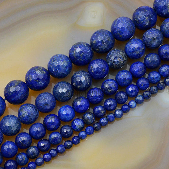 Faceted Natural Lapis Lazuli Gemstone Round Loose Beads on a 15.5