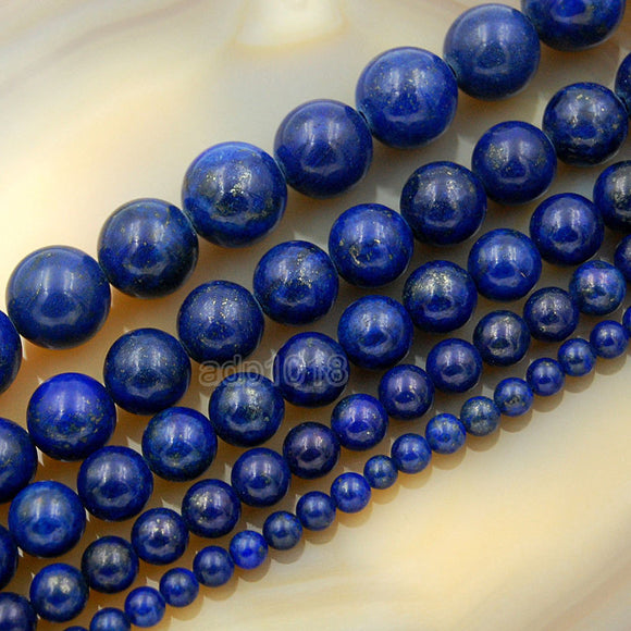 Natural Color & Color Enhanced Lapis Lazuli Round Loose Beads on a 15.5
