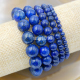 Natural Lapis Gemstone Beads Stretch Bracelet Healing Reiki
