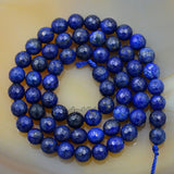"Faceted Natural Lapis Lazuli Gemstone Round Loose Beads on a 15.5"" Strand"