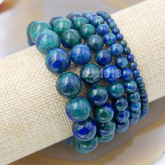 Natural Lapis Chrysocolla Gemstone Beads Stretch Bracelet Healing Reiki
