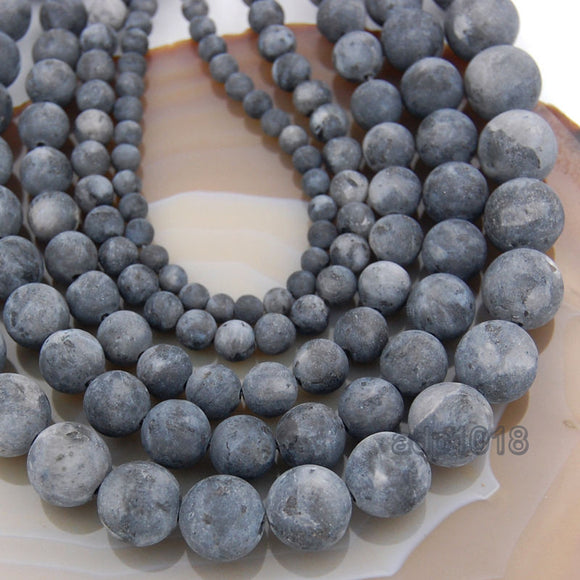 Matte Natural Larvikite Labradorite Gemstone Round Loose Beads on a 15.5