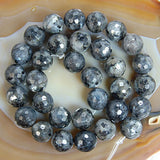 "Faceted Natural Larvikite Labradorite Gemstone Round Loose Beads on a 15.5"" Strand"