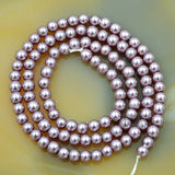 "Czech Lavender Purple Satin Luster Glass Pearl Round Beads on a 15.5"" Strand"