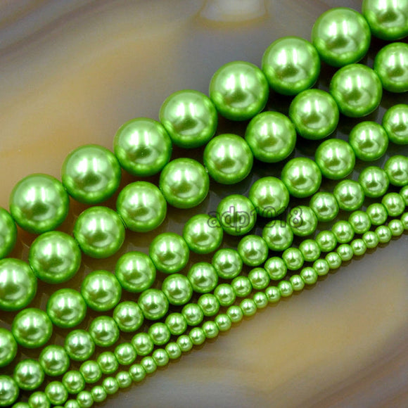 Czech Light Green Satin Luster Glass Pearl Round Beads on a 15.5