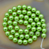 "Czech Light Green Satin Luster Glass Pearl Round Beads on a 15.5"" Strand"