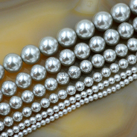 Czech Light Grey Satin Luster Glass Pearl Round Beads on a 15.5