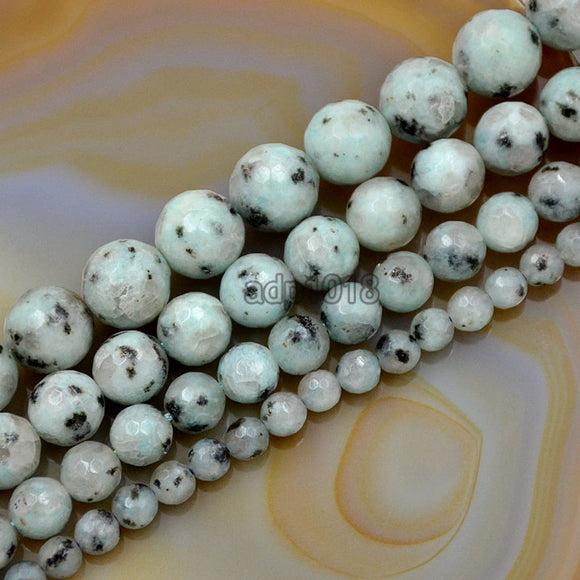 Faceted Natural Lotus Jasper Gemstone Round Loose Beads on a 15.5