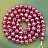 "Czech Magenta Satin Luster Glass Pearl Round Beads on a 15.5"" Strand"