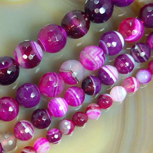 Faceted Natural Magenta Striated Agate Gemstone Round Loose Beads on a 15.5