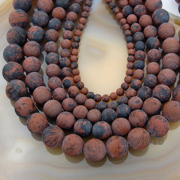 Matte Natural Mahogany Obsidian Gemstone Round Loose Beads on a 15.5