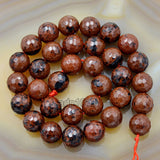 "Faceted Natural Mahogany Obsidian Gemstone Round Loose Beads on a 15.5"" Strand"