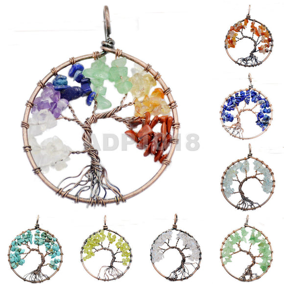 Tree of Life Pendant Necklace Chakra Gemstone 50mm Copper Wrap