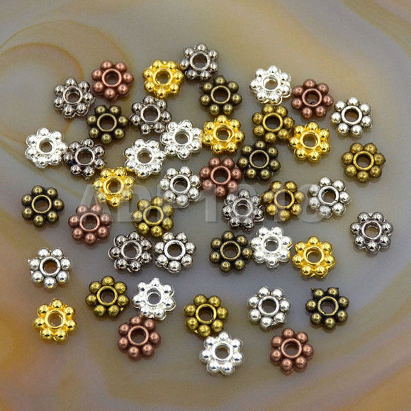 Daisy Flower Snowflake Shaped Solid Metal Copper Connector Spacer Charm Beads