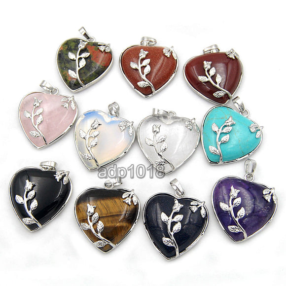 Natural Gemstone Flower Heart Reiki Chakra Charm Pendant Necklace