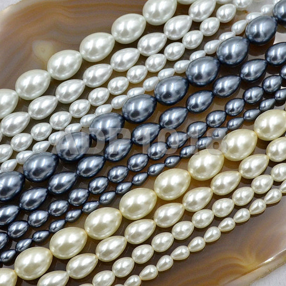 Czech Satin Luster Glass Pearl Pear Teardrop Loose Beads on a 15.5