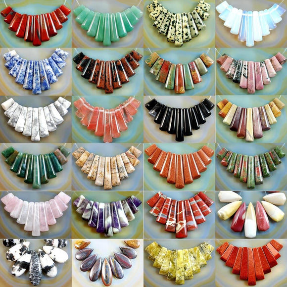 Natural Graduated Gemstone Pendant Necklace Stick Beads Set 9 Pcs
