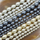 "Czech Satin Luster Glass Pearl Pear Teardrop Loose Beads on a 15.5"" Strand"