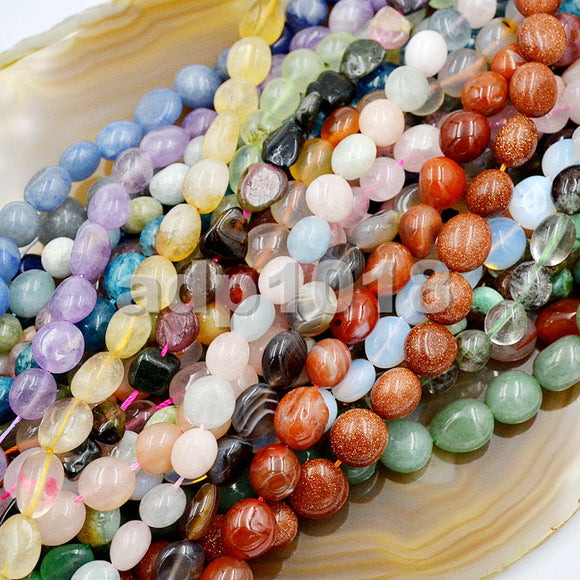 Natural Gemstone Freeform Potato 6x8-10x12mm Loose Beads on a 15.5