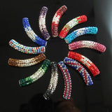 Curved Tube Czech Crystal Rhinestones Spacer Pave Connector Charm Beads (Multiple Colors)