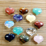 Natural Heart Gemstone Reiki Chakra Healing Bead Charm Pendant Necklace