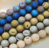 "Natural Druzy Quartz Agate Gemstone Round Loose Beads on a 8"" Strand"