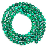 "Synthetic Malachite Gemstone Round Loose Beads on a 15.5"" Strand"