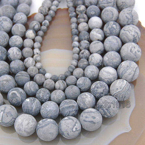 Matte Natural Map Jasper Gemstone Round Loose Beads on a 15.5