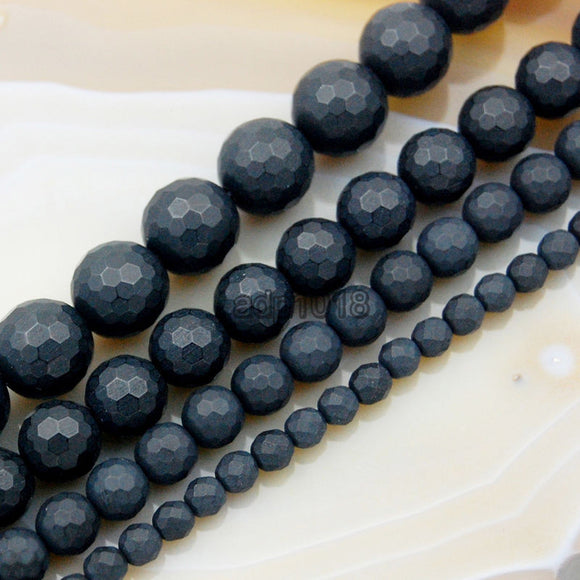 Faceted Matte Natural Black Onyx Gemstone Round Loose Beads on a 15.5