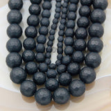 "Faceted Matte Natural Black Onyx Gemstone Round Loose Beads on a 15.5"" Strand"