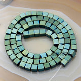 Natural Hematite Gemstone Smooth & Matte Square Cube Beads 16''